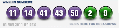 Euro Millions winning lottery numbers November 4th 2011
