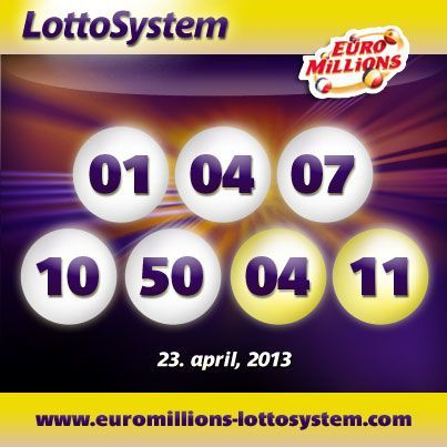 Euromillions Lottery Draw Results for Tuesday 23rd of April 2013